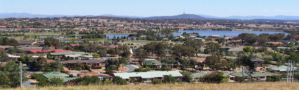 View of Gungahlin - looking towards the Brindabella Ranges